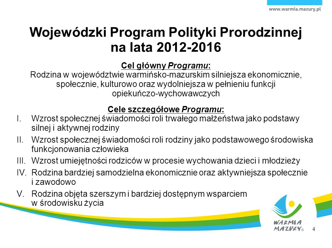Wojewódzki Program Polityki Prorodzinnej na lata 2012-2016 Cel główny Programu: Rodzina w województwie warmińsko-mazurskim silniejsza ekonomicznie, sp