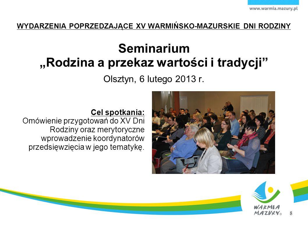 WYDARZENIA POPRZEDZAJĄCE XV WARMIŃSKO-MAZURSKIE DNI RODZINY Spotkanie koordynatorów przebiegu XV Dni Rodziny w środowiskach lokalnych Olsztyn, 25 kwietnia 2013 r.