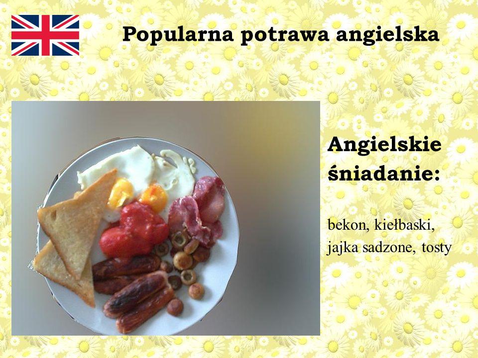 Angielskie śniadanie: bekon, kiełbaski, jajka sadzone, tosty Popularna potrawa angielska