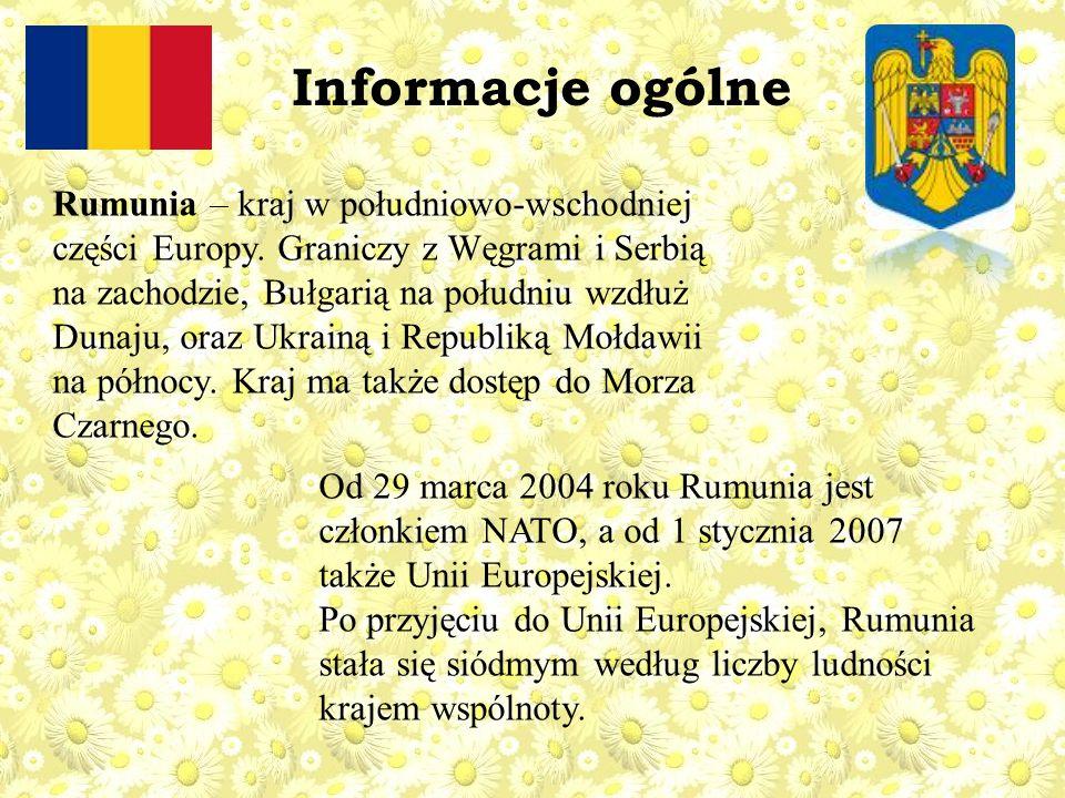 Rumunia – kraj w południowo-wschodniej części Europy. Graniczy z Węgrami i Serbią na zachodzie, Bułgarią na południu wzdłuż Dunaju, oraz Ukrainą i Rep