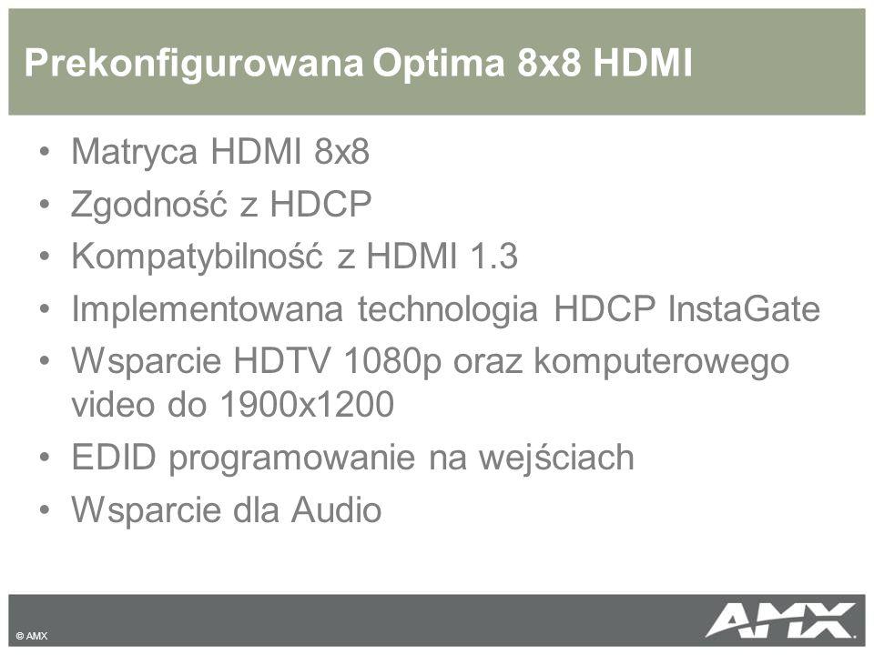 Prekonfigurowana Optima 8x8 HDMI Matryca HDMI 8x8 Zgodność z HDCP Kompatybilność z HDMI 1.3 Implementowana technologia HDCP InstaGate Wsparcie HDTV 10