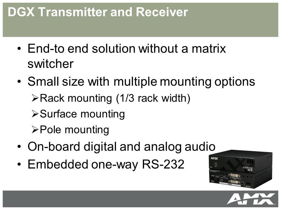 Solecis Switchery i wzmacniacze dystrybucyjne 4 PC i 6 video wejść – wszystkie z audio Podwójne wyjścia PC i video Wejście Audio z kontrolą głośności Switchery i wzmacniacze dystrybucyjne Solecis to rozwiązania dla sal konferencyjnych, wykładowych od prostego routingu sygnałów A/V i PC po dytrybutory sygnałów RGBHV HD-D15 AVS-SL-0401-0601 © AMX