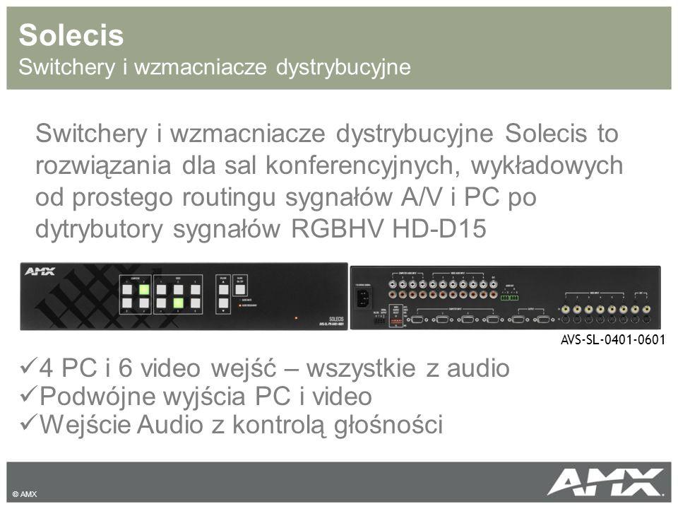 AutoPatch Martyce sygnałów AV Rodzaje sygnałów: Compisite, Y/C, Component, RGBHV, DVI, SD-SDI, HD-SDI, S/PDIF, TosLink Szeroka gama rozwiązań: Prices – gotowe konfiguracje (8x8, 18x18) Optima – mix&match (16x24, 20x20, 24x16 36x4) Modula – rozwiązania modułowe (32x32, 4x60, 46x16) Epica – zawansowane matryce w tym rozwiązania światłwodowe (144x144, 256x256) Optima_CP-15 20x20 © AMX