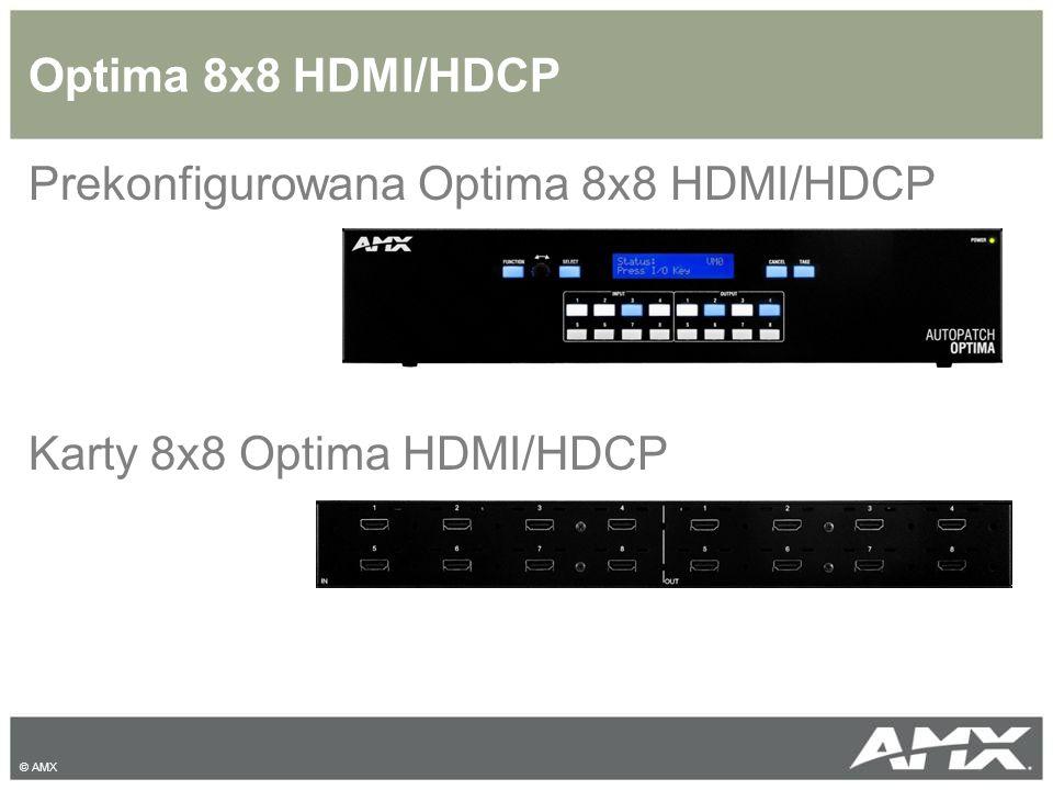 Prekonfigurowana Optima 8x8 HDMI Matryca HDMI 8x8 Zgodność z HDCP Kompatybilność z HDMI 1.3 Implementowana technologia HDCP InstaGate Wsparcie HDTV 1080p oraz komputerowego video do 1900x1200 EDID programowanie na wejściach Wsparcie dla Audio © AMX