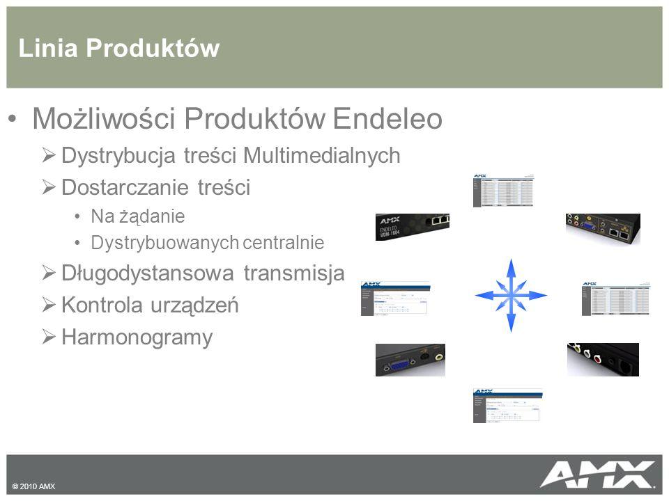 Linia Produktów Możliwości Produktów Endeleo  Dystrybucja treści Multimedialnych  Dostarczanie treści Na żądanie Dystrybuowanych centralnie  Długodystansowa transmisja  Kontrola urządzeń  Harmonogramy © 2010 AMX