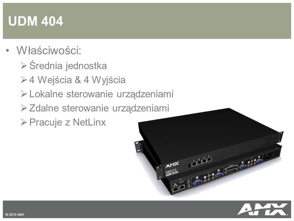 UDM 404 Właściwości:  Średnia jednostka  4 Wejścia & 4 Wyjścia  Lokalne sterowanie urządzeniami  Zdalne sterowanie urządzeniami  Pracuje z NetLinx © 2010 AMX