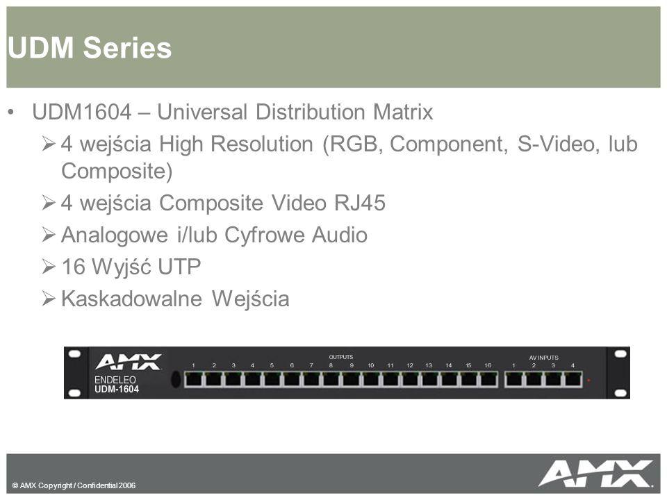 © AMX Copyright / Confidential 2006 UDM1604 – Universal Distribution Matrix  4 wejścia High Resolution (RGB, Component, S-Video, lub Composite)  4 wejścia Composite Video RJ45  Analogowe i/lub Cyfrowe Audio  16 Wyjść UTP  Kaskadowalne Wejścia UDM Series