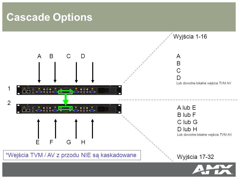 Cascade Options *Wejścia TVM / AV z przodu NIE są kaskadowane 1212 A B C D E F G H Wyjścia 1-16 Wyjścia 17-32 A B C D Lub dowolne lokalne wejścia TVM AV A lub E B lub F C lub G D lub H Lub dowolne lokalne wejścia TVM AV