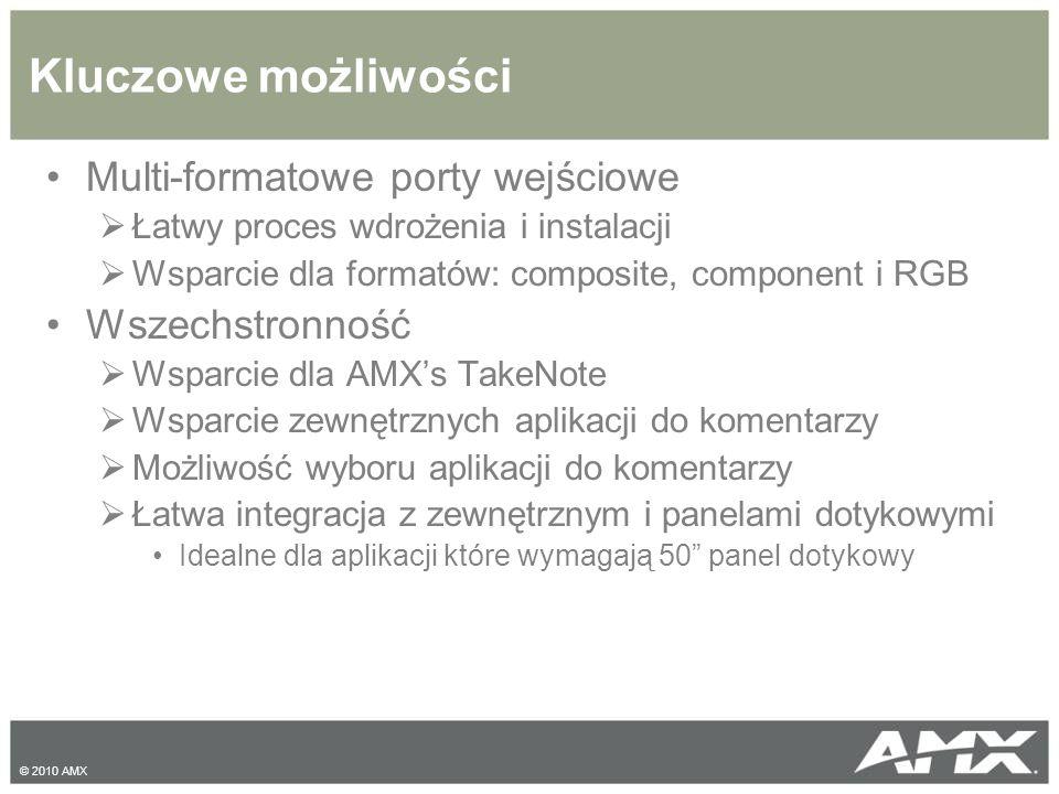 Szczegóły techniczne Features AMX G4 Graphics:  32-bit głębia kolorów  8-bit kanał transparentności  16 million kolorów  Animowane przyciski/ikony  Przeźroczyste obrazu i przyciski Displays up to Four Media Windows:  24-bit video/grafika  Zmienno-wymiarowe okna  Real-time video we wszystkich oknach  Do 4 źródeł RGB, Component lub Composite © 2010 AMX