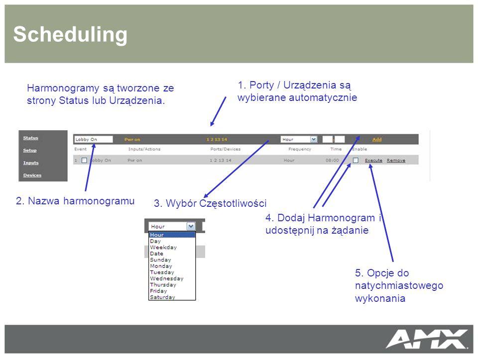 Scheduling Harmonogramy są tworzone ze strony Status lub Urządzenia.