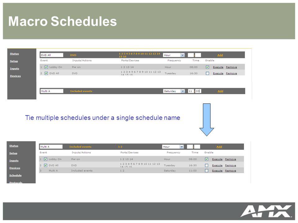 Macro Schedules Tie multiple schedules under a single schedule name