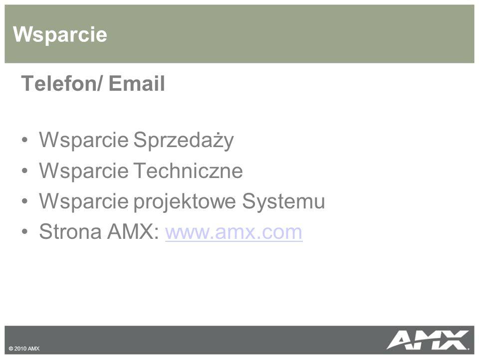 Wsparcie Telefon/ Email Wsparcie Sprzedaży Wsparcie Techniczne Wsparcie projektowe Systemu Strona AMX: www.amx.comwww.amx.com © 2010 AMX
