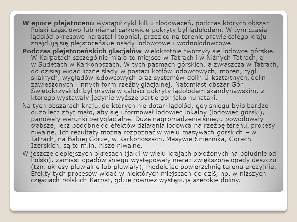 W epoce plejstocenu wystąpił cykl kilku zlodowaceń, podczas których obszar Polski częściowo lub niemal całkowicie pokryty był lądolodem. W tym czasie