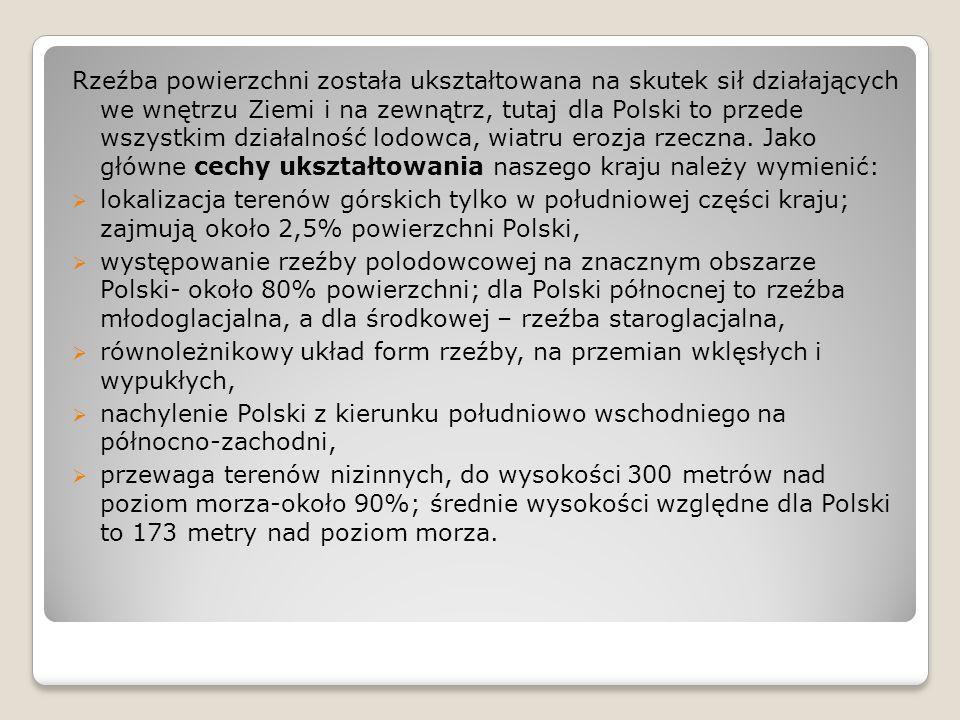 Rzeźba powierzchni została ukształtowana na skutek sił działających we wnętrzu Ziemi i na zewnątrz, tutaj dla Polski to przede wszystkim działalność l