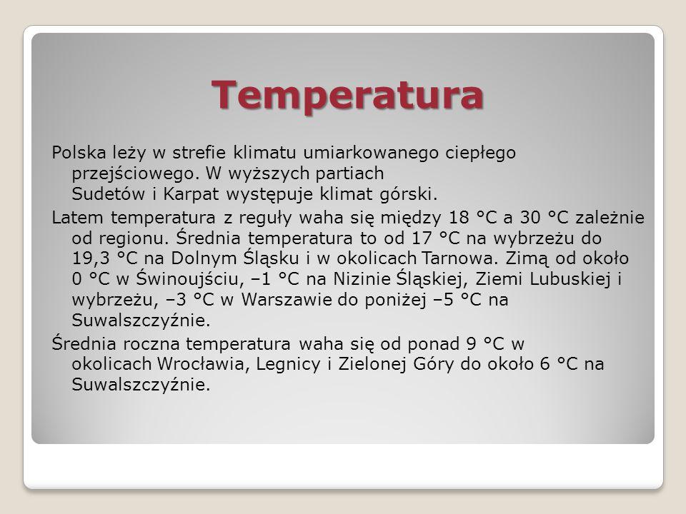 Temperatura Polska leży w strefie klimatu umiarkowanego ciepłego przejściowego. W wyższych partiach Sudetów i Karpat występuje klimat górski. Latem te