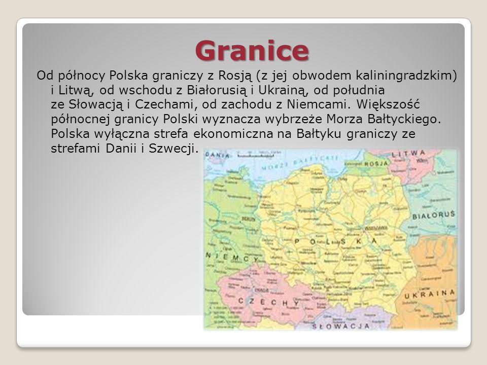 Granice Granice Od północy Polska graniczy z Rosją (z jej obwodem kaliningradzkim) i Litwą, od wschodu z Białorusią i Ukrainą, od południa ze Słowacją
