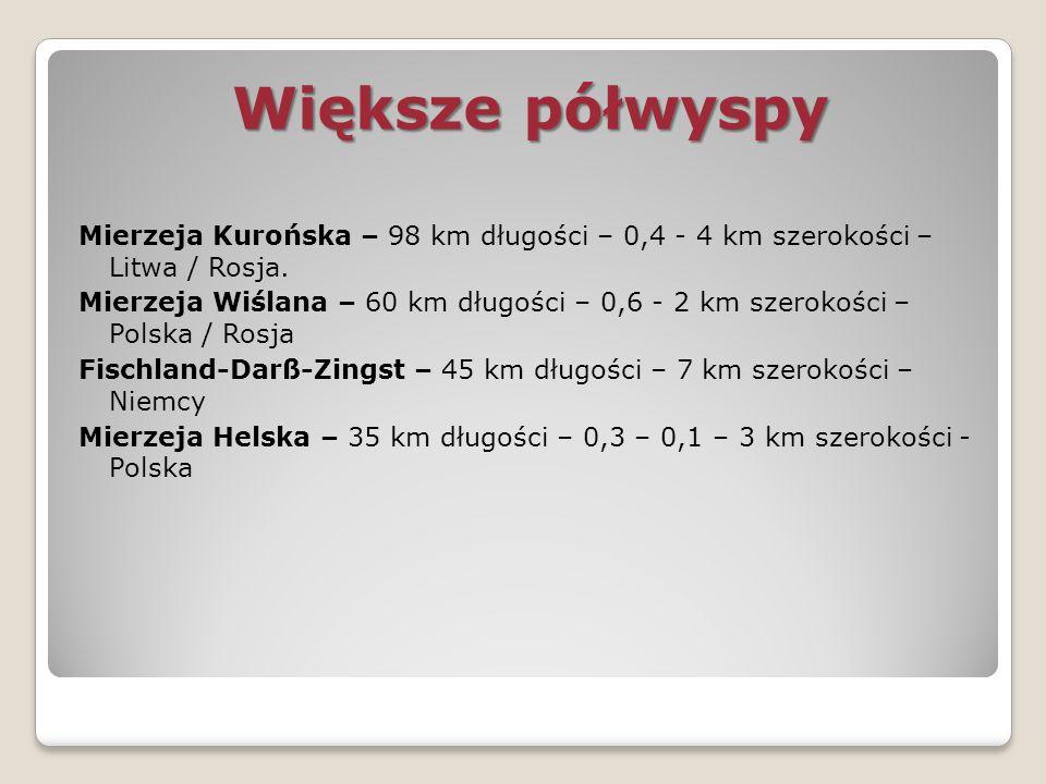 Większe półwyspy Mierzeja Kurońska – 98 km długości – 0,4 - 4 km szerokości – Litwa / Rosja. Mierzeja Wiślana – 60 km długości – 0,6 - 2 km szerokości