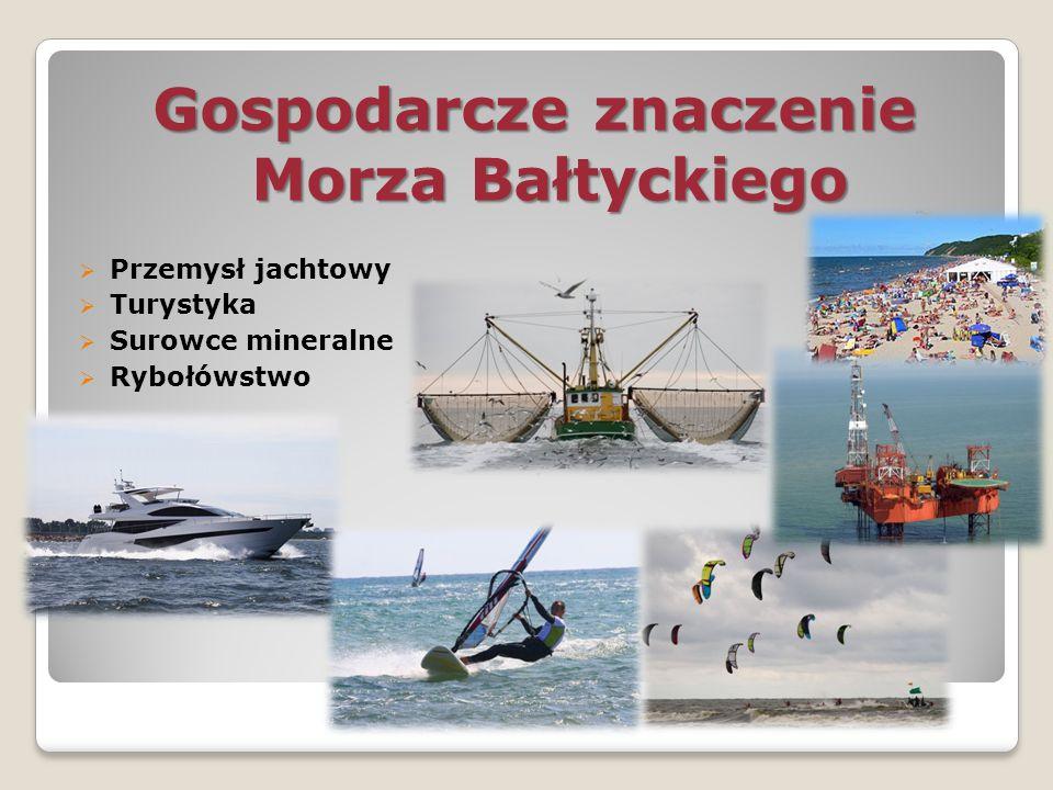 Gospodarcze znaczenie Morza Bałtyckiego  Przemysł jachtowy  Turystyka  Surowce mineralne  Rybołówstwo