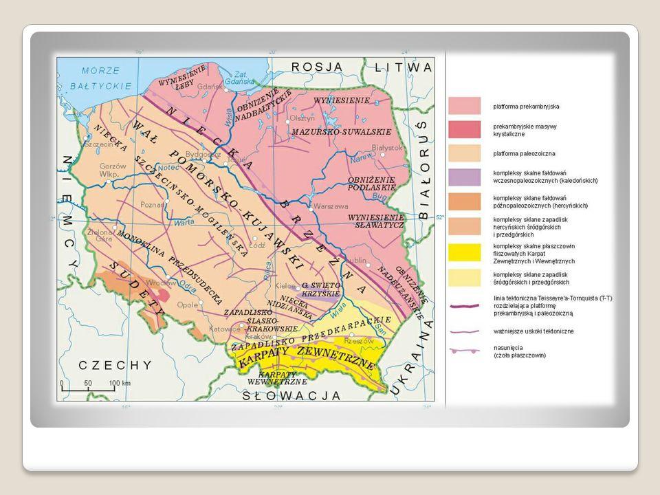 Najważniejsze wydarzenia w przeszłości geologicznej W przeszłości geologicznej obszar dzisiejszej Polski ulegał wielu przemianom - ruchom górotwórczym, zjawiskom plutonicznym i wulkanicznym, transgresjom i regresjom morskim, zlodowaceniom i denudacji.