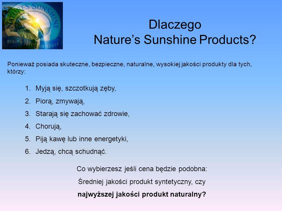 Dlaczego Nature's Sunshine Products? Ponieważ posiada skuteczne, bezpieczne, naturalne, wysokiej jakości produkty dla tych, którzy: 1.Myją się, szczot