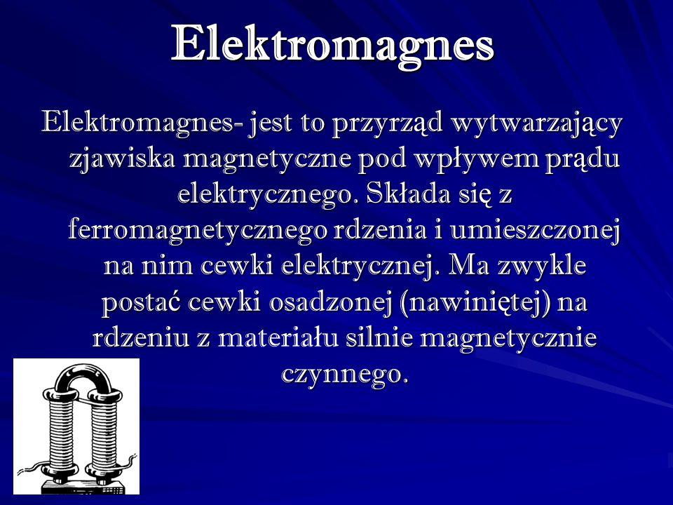 ElektromagnesElektromagnes- jest to przyrząd wytwarzający zjawiska magnetyczne pod wpływem prądu elektrycznego. Składa się z ferromagnetycznego rdzeni