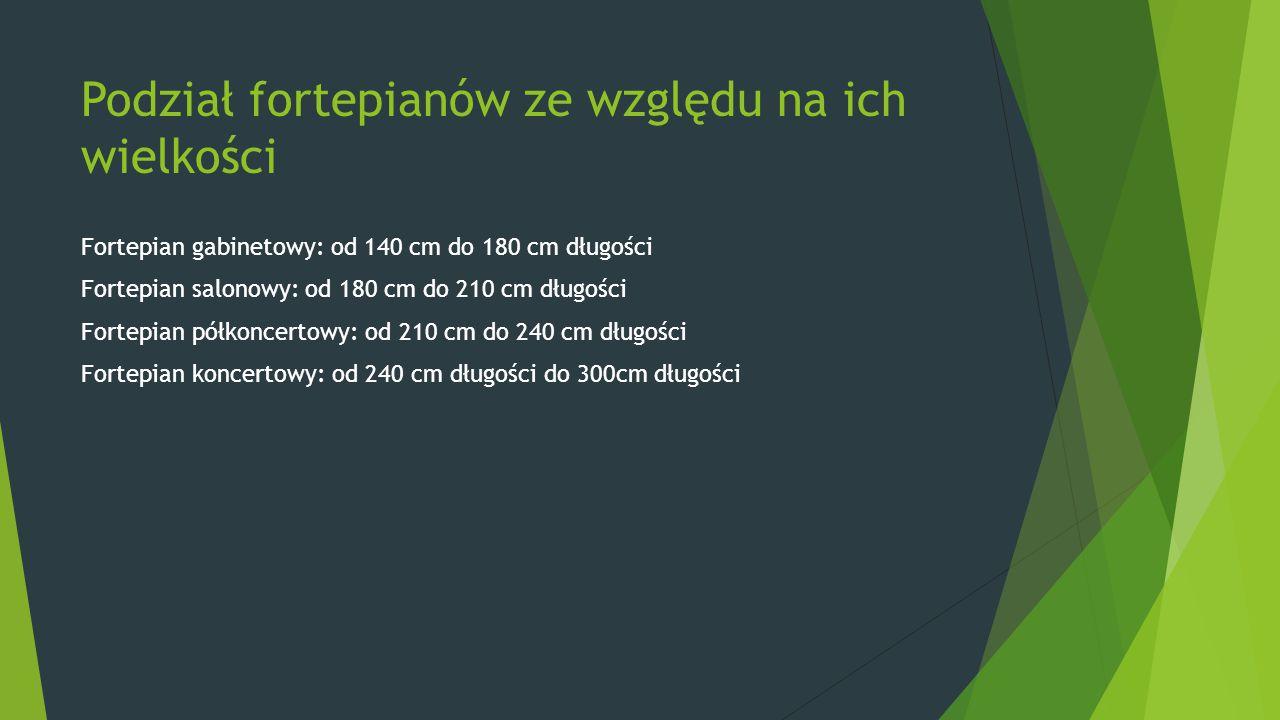 Podział fortepianów ze względu na ich wielkości Fortepian gabinetowy: od 140 cm do 180 cm długości Fortepian salonowy: od 180 cm do 210 cm długości Fortepian półkoncertowy: od 210 cm do 240 cm długości Fortepian koncertowy: od 240 cm długości do 300cm długości