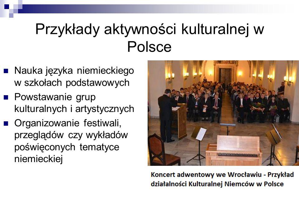 Przykłady aktywności kulturalnej w Polsce Nauka języka niemieckiego w szkołach podstawowych Powstawanie grup kulturalnych i artystycznych Organizowani