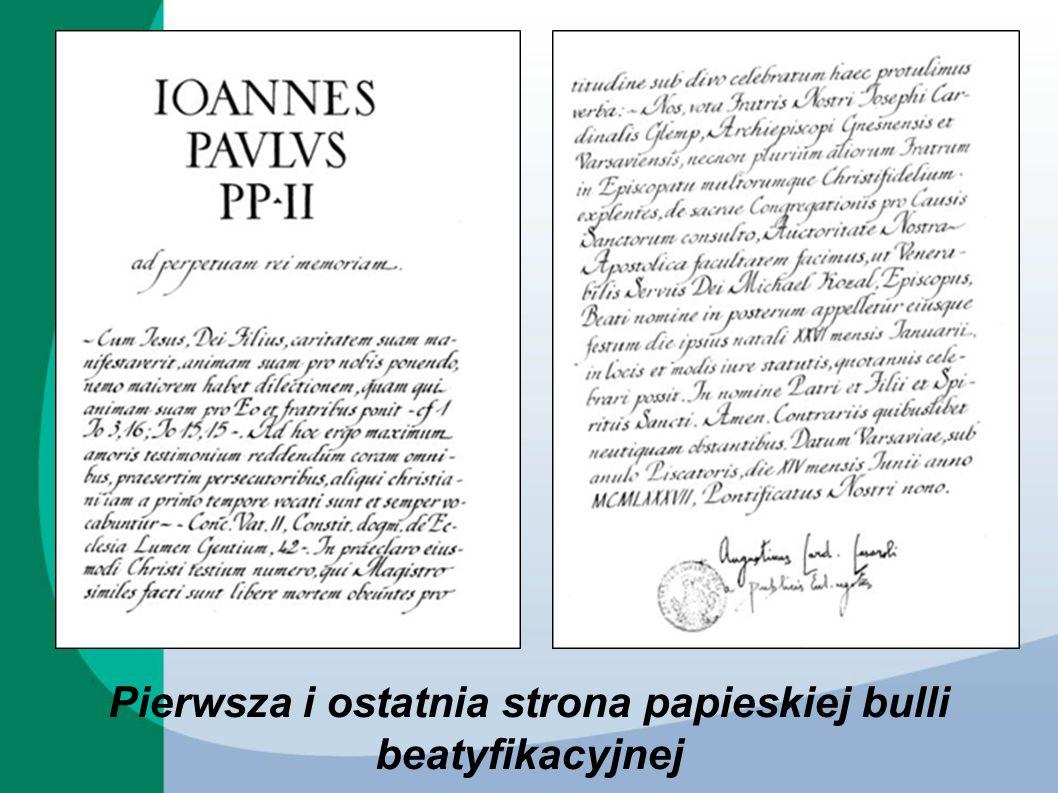 Pierwsza i ostatnia strona papieskiej bulli beatyfikacyjnej