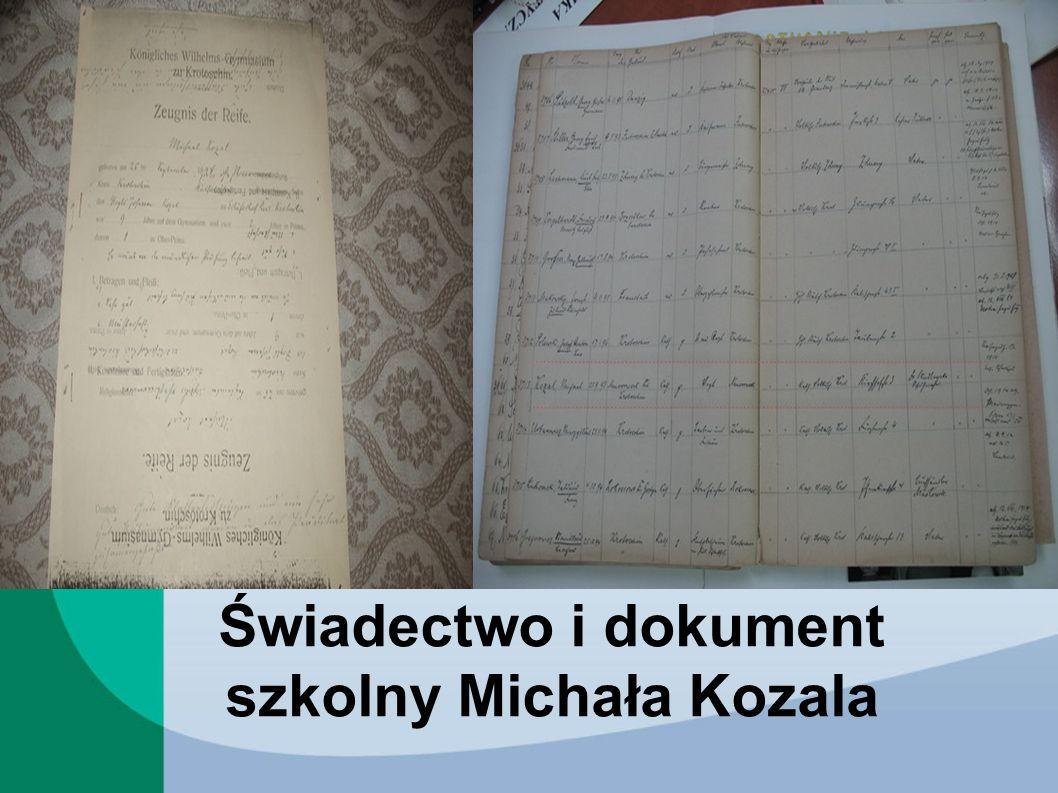 Świadectwo i dokument szkolny Michała Kozala