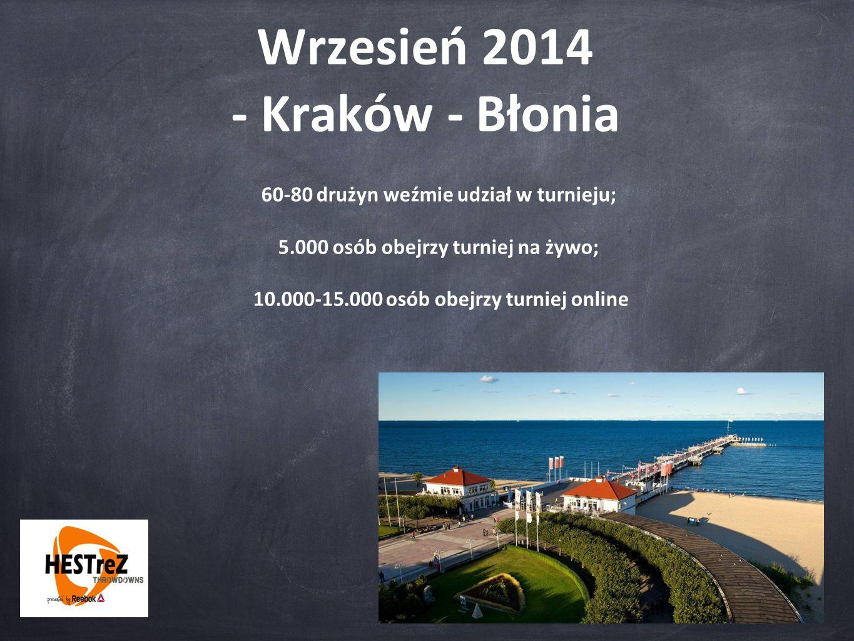 Wrzesień 2014 - Kraków - Błonia 60-80 drużyn weźmie udział w turnieju; 5.000 osób obejrzy turniej na żywo; 10.000-15.000 osób obejrzy turniej online