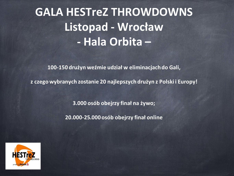 GALA HESTreZ THROWDOWNS Listopad - Wrocław - Hala Orbita – 100-150 drużyn weźmie udział w eliminacjach do Gali, z czego wybranych zostanie 20 najlepszych drużyn z Polski i Europy.