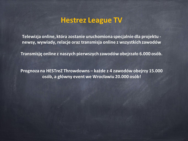 Hestrez League TV Telewizja online, która zostanie uruchomiona specjalnie dla projektu - newsy, wywiady, relacje oraz transmisja online z wszystkich zawodów Transmisję online z naszych pierwszych zawodów obejrzało 6.000 osób.