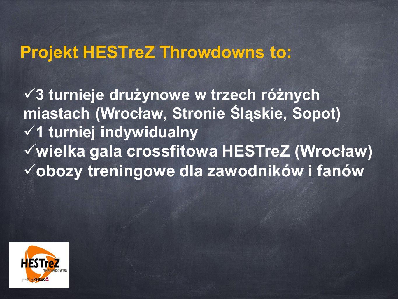 Projekt HESTreZ Throwdowns to: 3 turnieje drużynowe w trzech różnych miastach (Wrocław, Stronie Śląskie, Sopot) 1 turniej indywidualny wielka gala crossfitowa HESTreZ (Wrocław) obozy treningowe dla zawodników i fanów