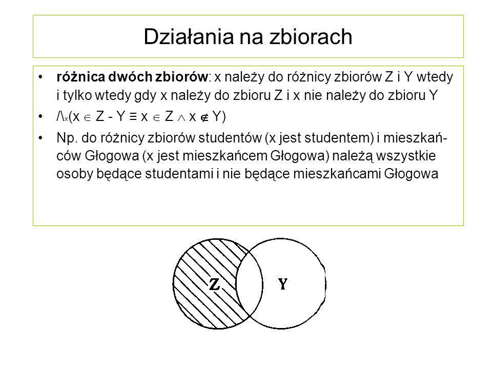 Działania na zbiorach różnica dwóch zbiorów: x należy do różnicy zbiorów Z i Y wtedy i tylko wtedy gdy x należy do zbioru Z i x nie należy do zbioru Y
