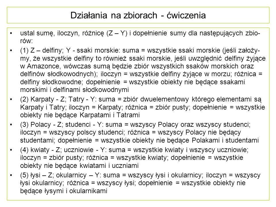 Działania na zbiorach - ćwiczenia ustal sumę, iloczyn, różnicę (Z – Y) i dopełnienie sumy dla następujących zbio- rów: (1) Z – delfiny; Y - ssaki mors