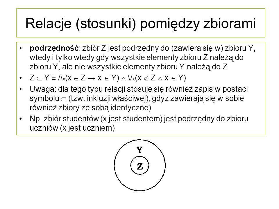 Relacje (stosunki) pomiędzy zbiorami nadrzędność: zbiór Y jest nadrzędny do zbioru Z, wtedy i tylko wtedy gdy wszystkie elementy zbioru Z należą do zbioru Y, ale nie wszystkie elementy zbioru Y należą do Z Y  Z ≡ /\ x (x  Z → x  Y)  \/ x (x  Z  x  Y) Uwaga: dla tego typu relacji stosuje się również zapis w postaci symbolu , gdyż nadrzędne do siebie są również zbiory ze sobą identyczne) Np.