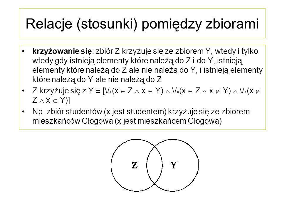 Relacje (stosunki) pomiędzy zbiorami wykluczanie się: zbiór Z wyklucza się ze zbiorem Y, wtedy i tylko wtedy gdy nie mają one żadnych elementów wspólnych Z )( Y ≡ ~ \/ x (x  Z  x  Y) Z )( Y ≡ /\ x {[x  Z → ~ (x  Y)]  [(x  Y → ~ (x  Z)]} Z )( Y ≡ /\ x [(x  Z → x  Y)  (x  Y → x  Z)] Np.