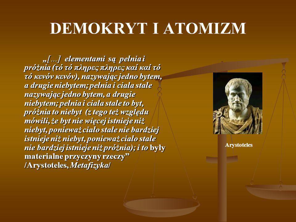 """DEMOKRYT I ATOMIZM """"[…] elementami są pełnia i próżnia (τό τό πληρες πληρες καί καί τό τό κενόν κενόν), nazywając jedno bytem, a drugie niebytem; pełn"""