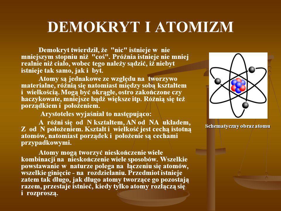 DEMOKRYT I ATOMIZM Demokryt twierdził, że