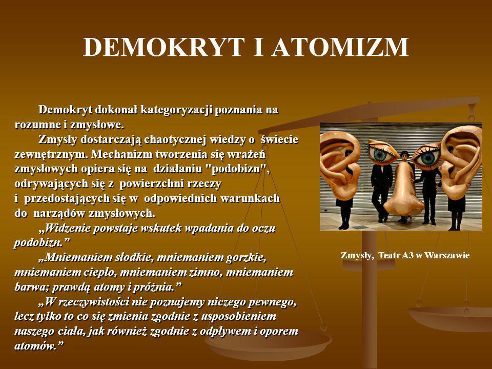 DEMOKRYT I ATOMIZM Zmysły, Teatr A3 w Warszawie Demokryt dokonał kategoryzacji poznania na rozumne i zmysłowe. Zmysły dostarczają chaotycznej wiedzy o