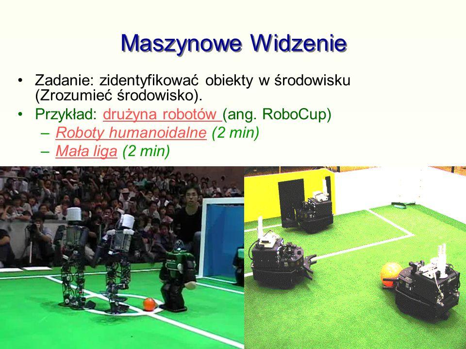 Maszynowe Widzenie Zadanie: zidentyfikować obiekty w środowisku (Zrozumieć środowisko). Przykład: drużyna robotów (ang. RoboCup)drużyna robotów –Robot