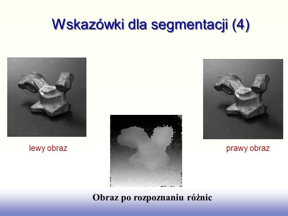 Wskazówki dla segmentacji (4) lewy obraz prawy obraz Obraz po rozpoznaniu różnic