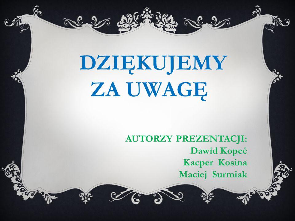 DZIĘKUJEMY ZA UWAGĘ AUTORZY PREZENTACJI: Dawid Kopeć Kacper Kosina Maciej Surmiak