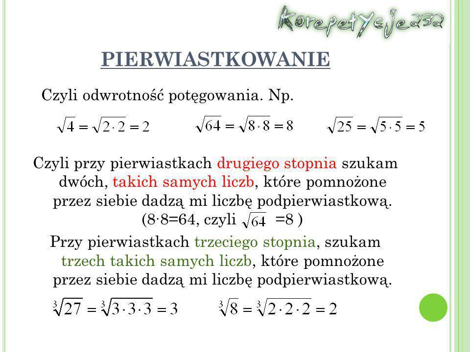 PIERWIASTKI KWADRATOWE Pierwiastek kwadratowy z liczby nieujemnej a, to taka liczba nieujemna b, która podniesiona do kwadratu daje liczbę podpierwiastkową a, czyli:
