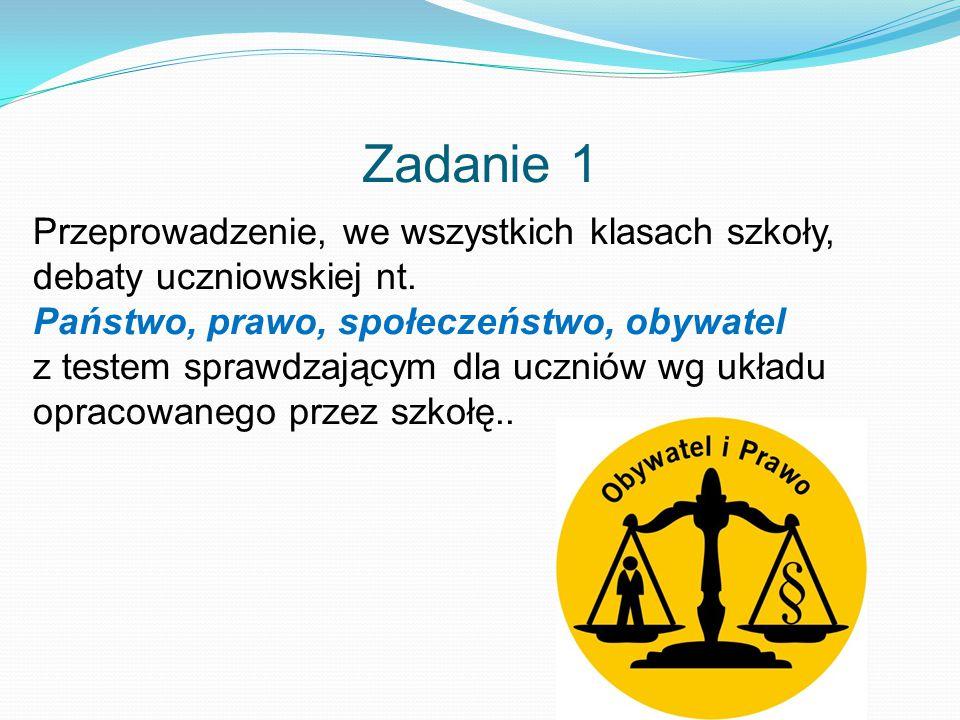 Zadanie 1 Przeprowadzenie, we wszystkich klasach szkoły, debaty uczniowskiej nt.