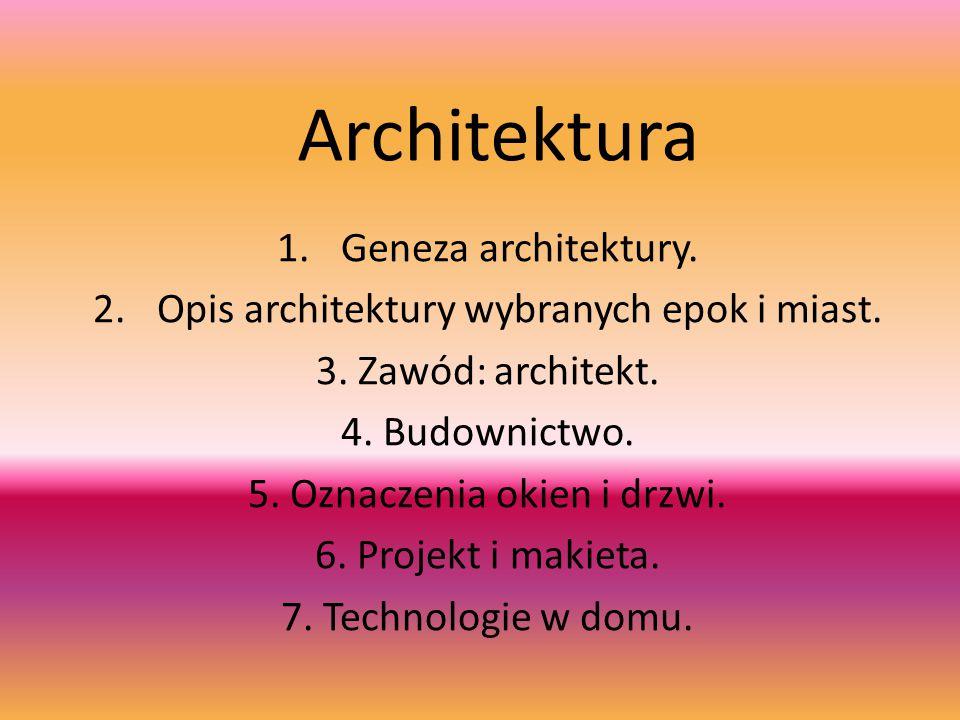 Architektura 1.Geneza architektury. 2.Opis architektury wybranych epok i miast. 3. Zawód: architekt. 4. Budownictwo. 5. Oznaczenia okien i drzwi. 6. P