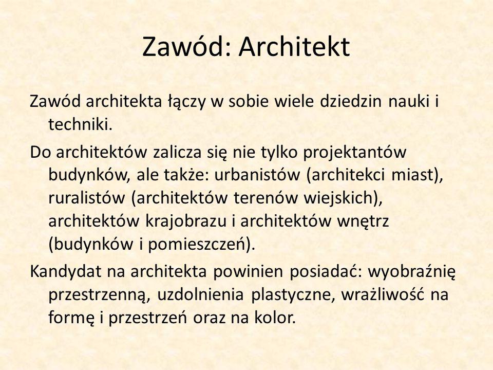 Zawód: Architekt Zawód architekta łączy w sobie wiele dziedzin nauki i techniki. Do architektów zalicza się nie tylko projektantów budynków, ale także