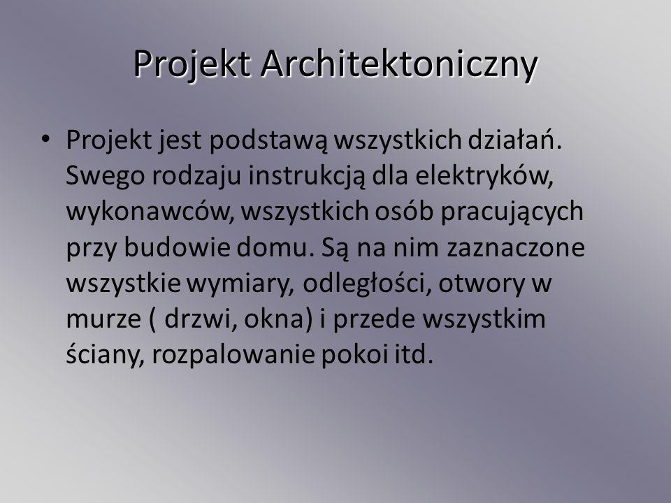 Projekt Architektoniczny Projekt jest podstawą wszystkich działań. Swego rodzaju instrukcją dla elektryków, wykonawców, wszystkich osób pracujących pr