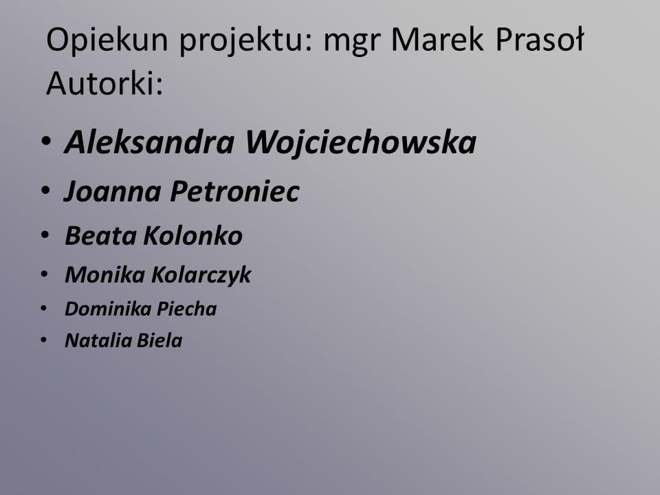 Opiekun projektu: mgr Marek Prasoł Autorki: Aleksandra Wojciechowska Joanna Petroniec Beata Kolonko Monika Kolarczyk Dominika Piecha Natalia Biela