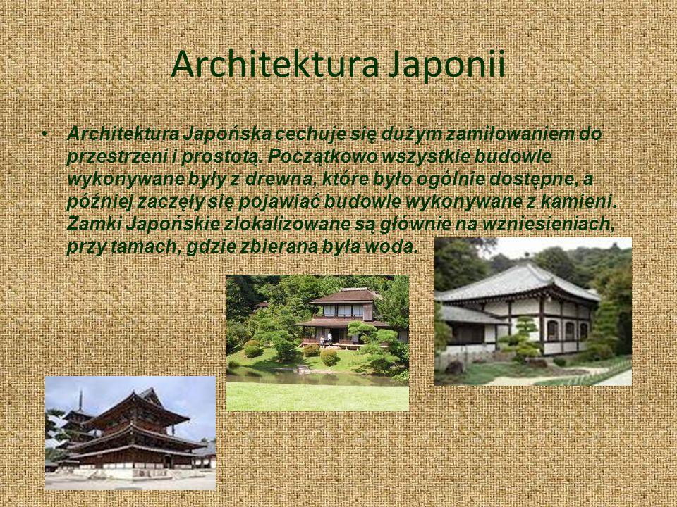 Architektura Japonii Architektura Japońska cechuje się dużym zamiłowaniem do przestrzeni i prostotą. Początkowo wszystkie budowle wykonywane były z dr